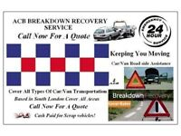 A.C.B-BREAKDOWN RECOVERY SERVICES 24/7 Car/4x4/Van Breakdown assistance/Vehicle Transport CALL NOW!