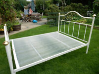 Cream/ Gold Decorative Metal Double Bed Frame