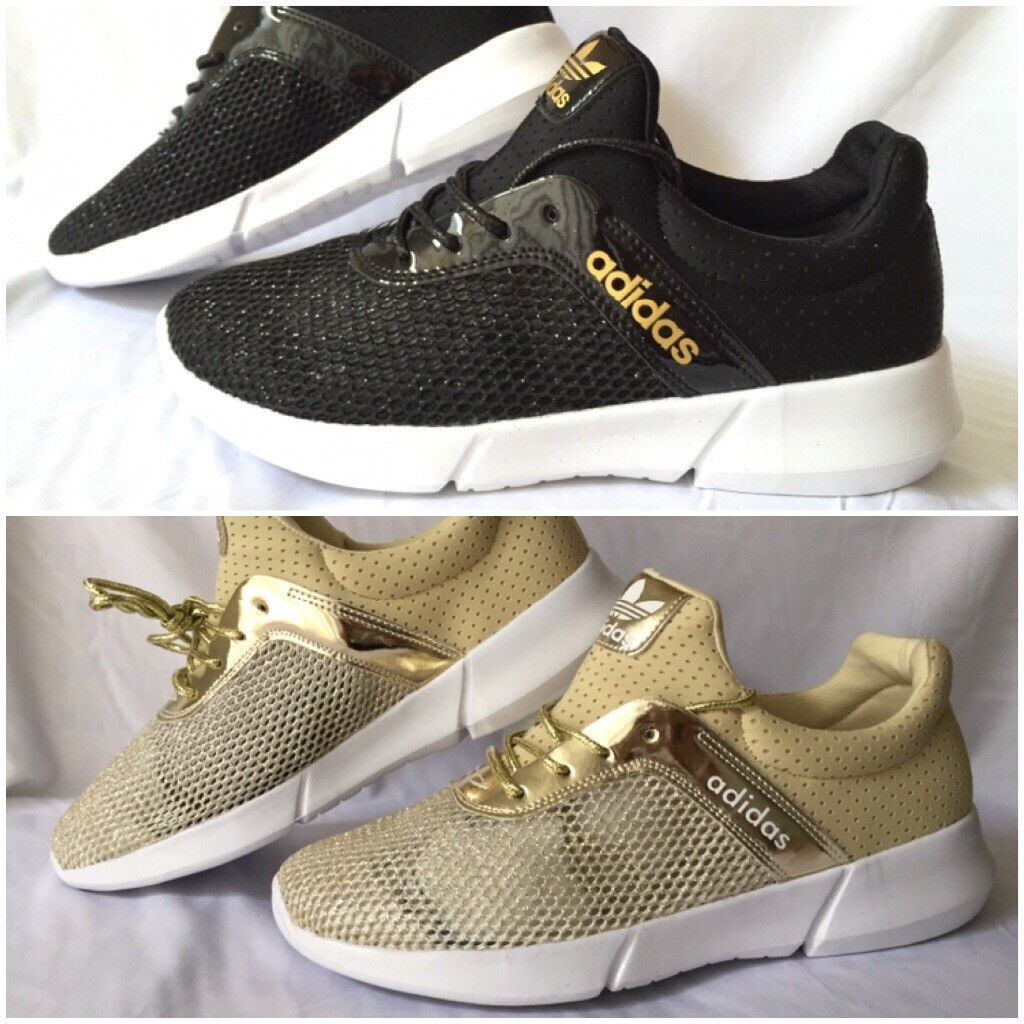 Womens trainers gold and black 2 colours single or bulkin Sparkhill, West MidlandsGumtree - Call text or whatsapp on 07526 849 469 CLICK ON SEE ALL ADS FOR STOCK AND PRICES Mens and womens trainers Single pair £20 Plus £5 postage OR Wholesale joblots £18 x 12 pairs £216 tns huaraches £15 x 12 pairs £180 airmax 90s £14 x 12 pairs...
