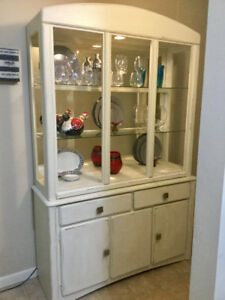 Antiqued buffet hutch