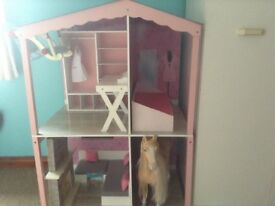 Design a friend doll house with furniture 2 our generation horses 1 with sledge and clip doll seat