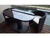 Black rattan patio terrace furniture bistro set (SRP 200 GBP)