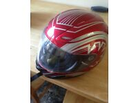 Adults Red/Silver Motor Bike Helmet