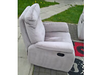 2 x Ex-display Development Beige Fabric Material Manual Reclining Arm Chairs