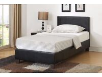★★ BRAND NEW ★★ SINGLE LEATHER BED FRAME WITH MATTRESS ★★ DOUBLE & KING AS WELL