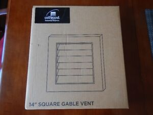 "New Cellwood 14"" Square White Gable Vent: SQGV1414"