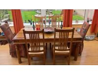 SHEESHAM 6 CHAIR DINNING TABLE PLUS CHAIRS.GOOD CONDITION.