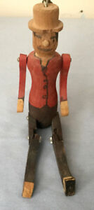 ANTIQUE WOODEN HAND CARVED JOINTED DOLL * FOLK ART. VERY PRIMITI