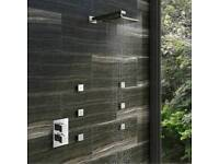 Mode thermostatic twin shower with body jets