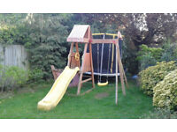 wooden slide and swing