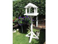 Bird table feeder freestanding in white primed collour
