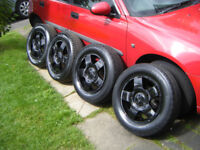 2 SETS V W GOLF 5 STUD 5 SPOKE 5 X 100 PCD BLK ALLOY WHEELS C/W CENTRES C/W EXCEL TREAD TYRE,GD COND