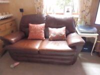2 mid brown leather settees sofas- 2 and 3 seater-good condition ready for immediate collection.