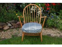 ERCOL blonde armchair chair Mid Century ORLA KIELY upholstery Model 305