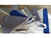 Beautiful hand made bunting approx 45m. Mainly royal blue and white