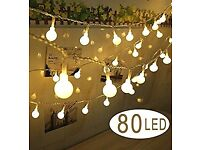 2 x battery operated 'cooky' ball string lights, 10m length, 80 bulbs.