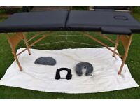 Portable massage table bed couch black vinyl with minor defects
