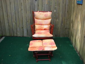 Rocking glider chair with foot stool