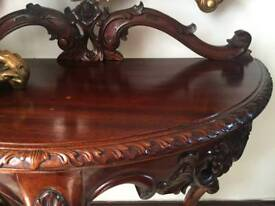 Hall table heavily carved