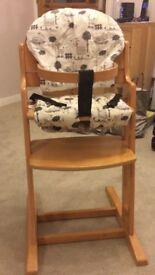 Wooden Babydan Highchair with cushions