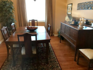 Antique Solid Crosscut Oak Dining Room Set