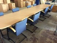 Beech Rectangle Conference Table & 10 Chairs
