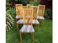 Set Of Six Oak Dining Chairs, Excellent.