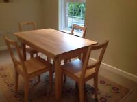 IKEA dining room table + 4 chairs