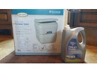 BOXED IMACULATE CAMPING TOILET FOR SALE + DISINFECTANT