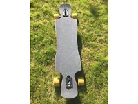 Longboard skateboard, churchill deck, randal r2 trucks, oragutang wheels