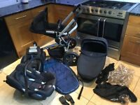 Quinny buzz pram / travel system with maxicosi carbiofix car seat and easyfix base