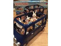 Sylvanian Families 7 seater bus with figures and box - used but in great condition