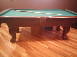 Pool Table for sale - with balls. 2 cues and accessories