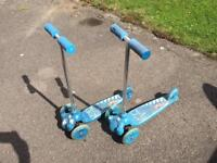Pair of kids twist n roll scooters
