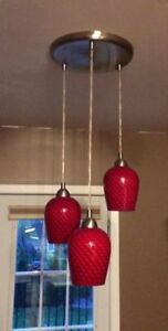 Red Hanging Lights - Stainless Steel