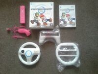 Mario kart wii, boxed with wheels & pink remote and nunchuck