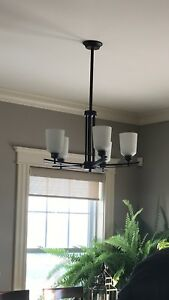 Oil Rubbed Bronze Chandelier, 3 pendants, and 2 wall sconces.