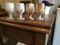 A set of 4 Onyx Marble goblets