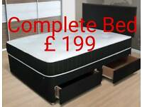 New double divan bed set £199 including orthopaedic mattress & headboard with drawers in base