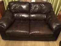 Brown leather 2 and 3 seater sofa