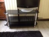 3-Tier Black Glass TV Stand Shelf Table for 32 INCH-60 INCH Screen TV