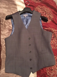 Gray men's suit vest