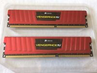 Corsair Vengeance LP Red 8gb pair of 2x4GB DDR3 RAM 1866mhz Excellent Condition!