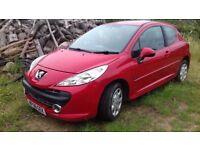 Peugeot 207 Mplay. 2008. 1.4 petrol. MOT July 2018. Red. 3 Dr.