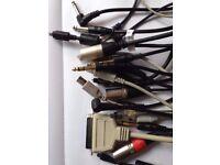 Various Studio Cables bundle, Phono, USB, Jack, XLR, MIDI, Optical, Digital, SCSI, HDMI etc