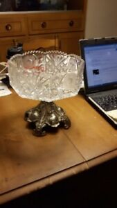 OCTAGON CRYSTAL BOWL, BEAUTIFUL ANTIQUE VICTORIAN FRUIT/COMPOTE