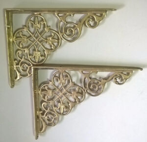 Vintage Ornate Polished Brass Dutch Theme Shelf Brackets