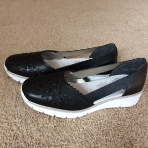 Black Leather Reiker Shoes -- Brand New