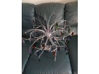 3 CENTREPIECE LIGHT FITTING WITH GLASS DROPLETS. EXC CONDITION.
