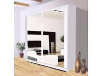 available in all sizes == Brand New Berlin Full Mirror 2 Door Sliding Wardrobe in Black&White
